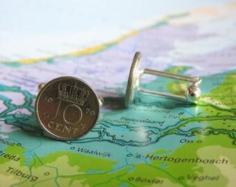 Netherlands Dutch dime coin cuff links in birth year 1960 - 1961 - 1962 - 1963 - 1964 - 1965 - 1966 - 1967 - 1968 - 1969 Holland