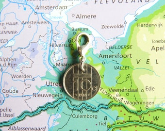 Netherlands dime coin charm in birth year 1990 - 1991 - 1992 - 1993 - 1994 - 1995 - 1996 - 1997 - 1998 - 1999 - 2000