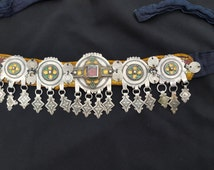 South Morocco - Headband with silver elements, email, red beads, ancient coins and pendants sewn on fabric headband