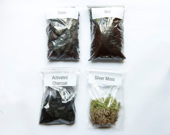 Slate & Silver Moss Terrarium Kit / Soil Mix / Activated Charcoal / Slate / Silver Moss by Geodesium