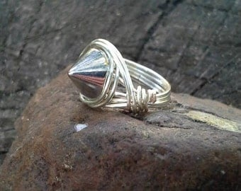 Smooth Silver Spike Ring