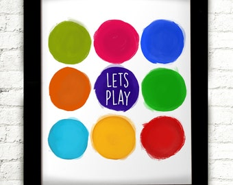 Let's Play, Nursery Decor, Playroom Decor, Playroom Sign, Playroom Wall Art, Playroom Decal, Playroom Art, Playroom Wall Decor, For Playroom