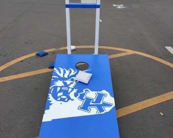 Custom Corn Hole Set with Bags and Drink Stands