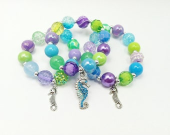 Seahorse under the sea party favors bracelets with special birthday girl bracelet