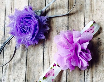 Set of 2 Headbands with Violet & Lavender Chiffon Flowers