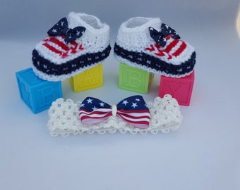 American FLAG baby booties american flag Baby Boots USA Flag  Knitted Baby Shoes Baby Gift Idea Hand Knitted Baby Shoes babyshower gifts 4th