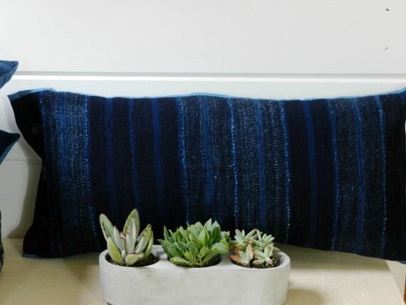 Indigo Striped Pillow Cover