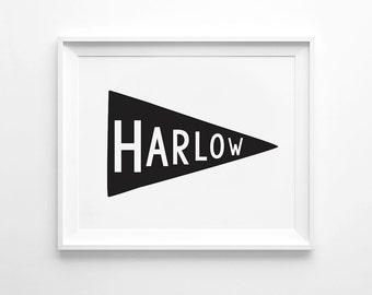 Personalised Name Flag, Custom Children's Print, Art Print, Children's Wall Art, Nursery Printable, Nursery Decor, Digital Download