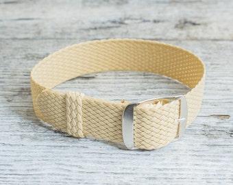 Beige perlon strap ( 18mm ) waterproof nylon strap, watch strap, khaki perlon, watch band, perlon band