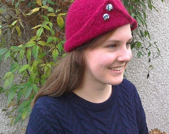 Red felted wool cloche hat with Harris Tweed button trim