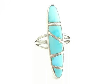 Vintage Native American Sterling Silver Turquoise Inlay Ring- Size 6.5