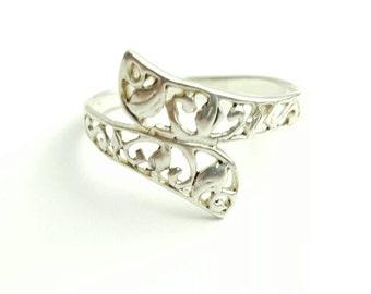 Vintage Sterling Silver Filigree Helix Ring- Size 9