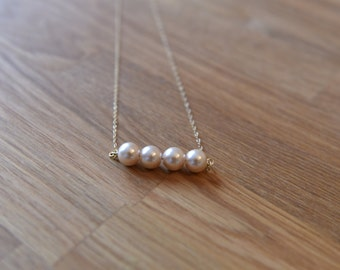 Pink Pearl Necklace with 14k gold filled chain necklace