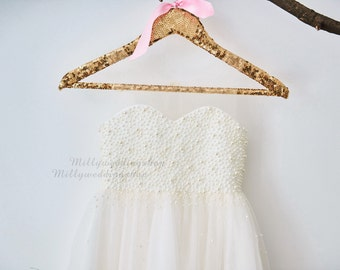 Pearl Beaded Champagne Tulle Flower Girl Dress Wedding Junior Bridesmaid Dress M0023