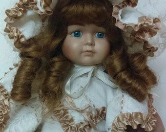 Vintage Porcelain Doll with Victorian Dress and Hat Beige and Tan Color 80's Doll