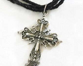 Black Necklace with Cross Pendant Hand Made Vintage style