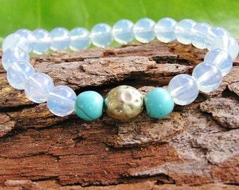 Crystal Spiritual Healing Moonstone Turquoise Sensitive Soul Earth Angel Trickle Of Moonlight Yoga Meditation Bracelet