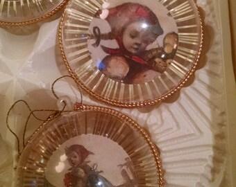 Hummel, Vintage Hummel, hummel ornaments, Christmas ornaments, Vintage Chrismtas, Hummel balls, Joseph Mueller, made in W Germany, ornaments