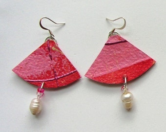 Pink earrings and freshwater pearls