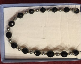 Sizzling Silver and Black crystal Evening Necklace By Neckcharms Designs