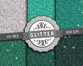 Premium Hi-Res Digital Paper - Green Glitter