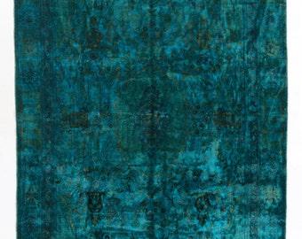 5.4x8.5 Ft  Sari Silk & Cotton Teal Blue Green Rug, Soft velvety pile. dn57