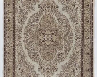 7.3x10.5 Ft Vintage Turkish Wool Rug. Beautiful soft-hued colors; beige, brown, pale green, mauve. Decorative old handmade carpet.  Y415