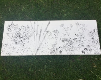 Dog walk plants! By Lucy Redman - printed plants onto canvas 80x30cm (32in x 12in)