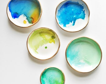 WATERCOLOR // Polymer Clay Ring Dish, Jewelry Dish, Trinket Dish