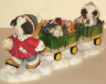 Mary Moo Moos / Enesco / John Deere Figurine--Christmas