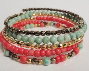 Multi-Color Memory Wire Beaded Bracelet