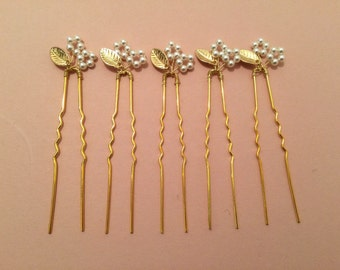 Bridal hair pins, bridesmaid hair pins, leaf hair pins, pearl hair pins, flower hair pins, gold hair pins