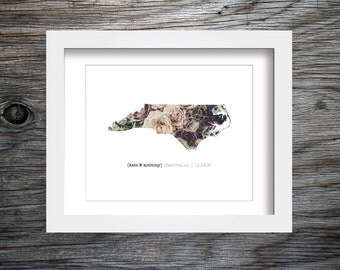 North Carolina Wedding Gift, Printable Wall Art, Anniversary Gift, Gift for Wife, Gift for Bride, Gift for Groom, Photo Art, Custom