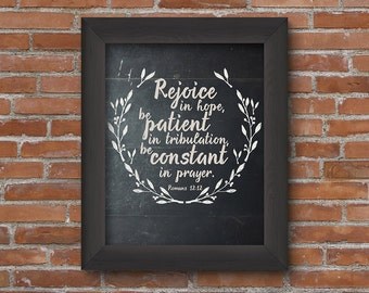 Romans 12:12 chalkboard printable, calligraphy quote, Scripture wall art