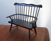 """Dollhouse Furniture Black Rustic Bench, Shabby Chic Painted, Farmhouse Style 8"""" tall"""