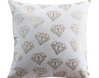 Diamond Pattern Gold Foil Cushion Cover Handmade 100% Cotton Throw Pillow