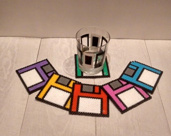 6 coasters diskettes / 6 Floppy disk coasters Hama beads handmade