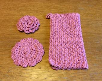 Pink cotton scrubbie washcloth bath set