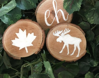 Canadian Wooden Coasters/ Hand Painted Coasters
