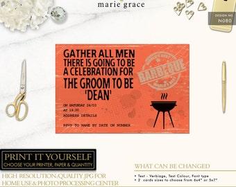 Bachelor Party Invitations, BBQ, Bachelor Invitations, Bucks, Stag