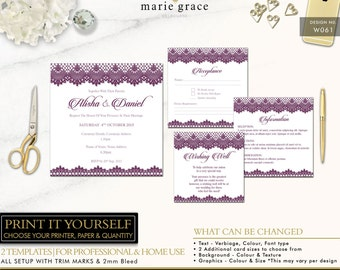 Wedding Invitations Templates, Purple Wedding Invitation, Lace, Navy Wedding Invite