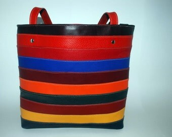 Multicolored hand made leather bag