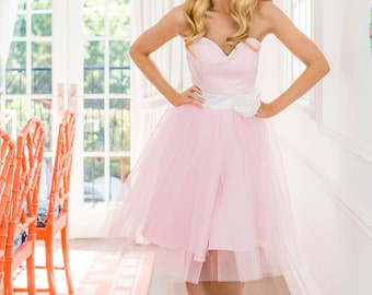 Strapless Dress, Duchess Satin, Bridesmaid Dress, Prom Dress, Ball Gown, Frou Frou, Tulle Dress, Pink