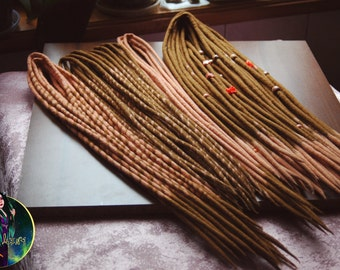 "Double ended wool dreads ""Fresh mango"". Wool dreadlocks. Handmade dreads. Mango dreads. Light brown dreads"