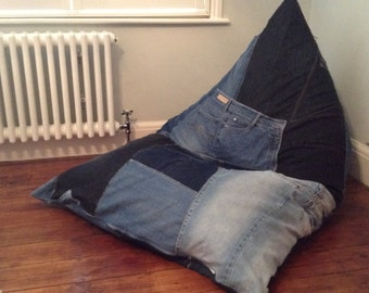 Bean Bag Wedge Chair Gaming Floor Cushion Handmade Upcycled Denim