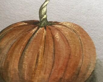 """long stem pumpkin original watercolor painting - 5.5"""" x 8.5"""""""