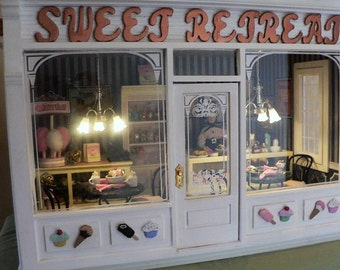 OOAK Dollhouse, finished  Room Box Ice Cream Parlor Sweet Shop, 1/12 Scale, completely decorated and ready to display