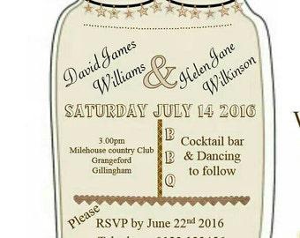 Wedding Invitation mason jar style