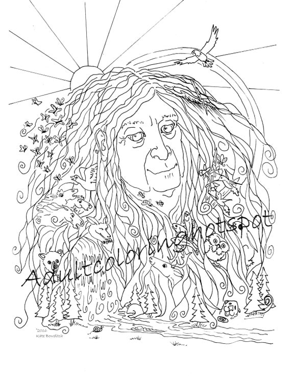 adult coloring pages mother nature