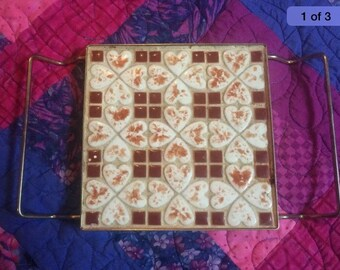 Vintage Tiled Trivet: Earth Tones, Brown & Beige Tan